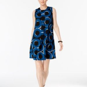 Alfani Pleat-Front A-Line Dress Teal Chic Circles